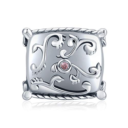 JewelryPalace Pink Cubic Zirconia Filigree Home Pillow Charm Bead Fit Bracelet 925 Sterling Silver ()