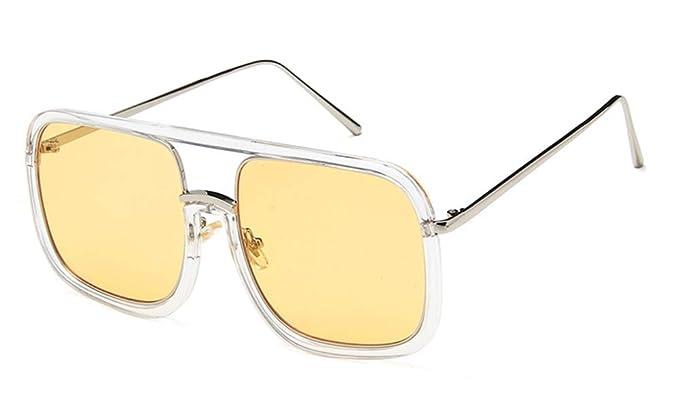 b6c72c7841 Huateng HT Classic retro cuadrado grande transparente plana espejo  tendencia gafas de personalidad marco puede ser