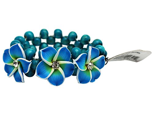 (Turquoise Colored Tropical Coco Flower Bracelet With White and Yellow Accents)