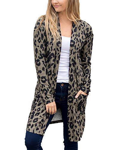 ANRABESS Womens Long Sleeve Open Front Animal Leopard Print Knitting Cardigan Sweater Kimono Coat Outwear with Pockets huise-L BYF59 Grey ()