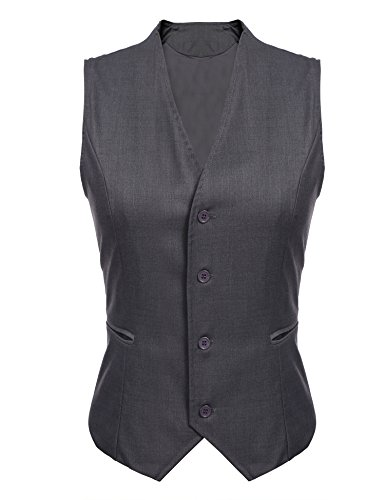 Coat Tweed Fully Lined (Gumod Women's Waistcoat Fully Lined 4 Button V-Neck Economy Dressy Suit Formal Business Vest,Grey,Small)