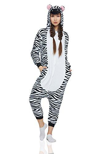 Adults Costume Zebra (Adult Zebra Kigurumi Animal Onesie Pajamas Plush Onsie One Piece Cosplay Costume (Medium, Black,)