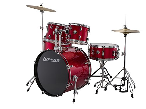 Brand New Ludwig Accent Fuse 5-Piece Drum Set (LC1704) with a Red Finish – Includes: Hardware, Throne, Pedal, Cymbals, Sticks & Drum Key