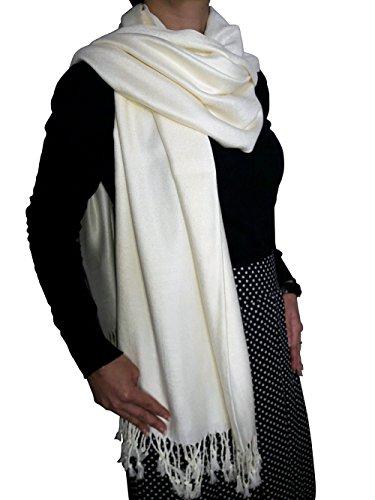 Opulent Luxury Women Pashmina Cashmere Scarf Shawl Wrap Soft Ivory 80
