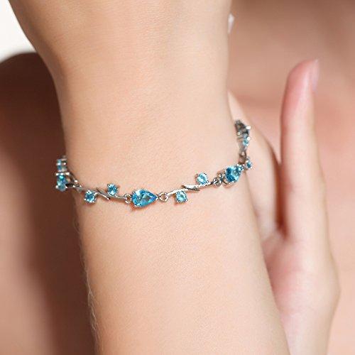 Déstockage-MARENJA Cristal-Bracelet Femme avec Cristal Bleu en Goutte d'Eau-Plaqué Or Blanc-Bijoux Fantaisie-17+3cm