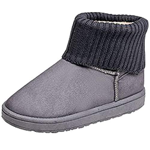 Piatti Boots Vintage A Imbottiti Peluche Eleganti Tubo Stivali Maglia Collo Donna Lavoro Da Scarpe Alto Calde Neve Stivaletti Grigio Invernali Bienbien q1AzwIZU