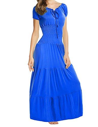 Meaneor Women Boho Cap Sleeve Smocked Waist Tiered Renaissance Summer Maxi Dress Blue XL