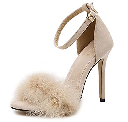European and American feather high-heeled sandals plush exposed women shoes JINGERMEI