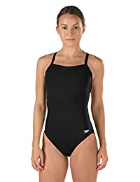 Speedo Womens Solid Flyback Training Suit Youth One Piece Swimsuit