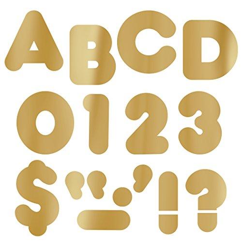 """Trend Enterprises Metallic Gold 4"""" Casual Ready Letters, 72/Pkg (T-479)"""