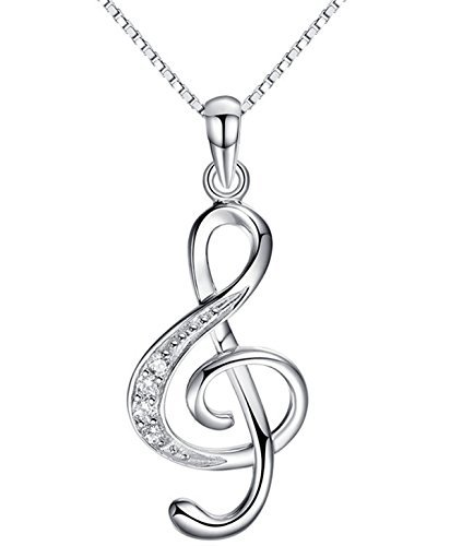 QXJX Music Note Pendant Necklace 925 Sterling Silver Cubic Zirconia Jewelry For Women Girl Box Chain 18