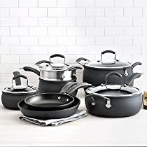 Epicurious Hard Anodized Nonstick 11-Piece Cookware Set with Superb Durability and Heat Distribution