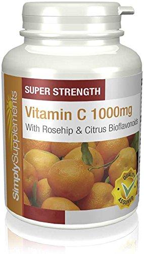 Vitamina C 1000mg con Bioflavonoides Cítricos de Rosa Mosqueta - 2 frascos de 180 Comprimidos -