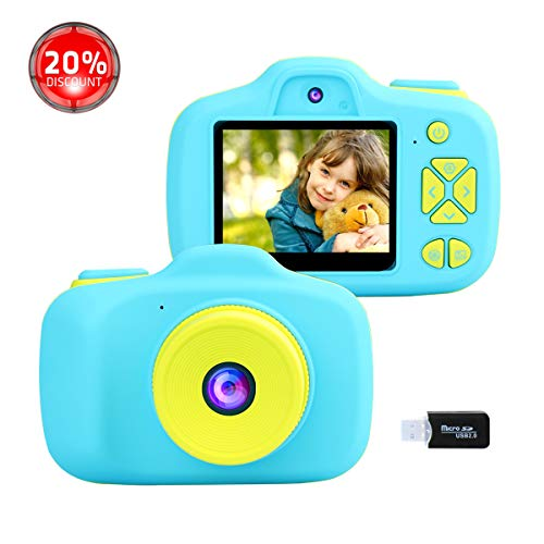 Kids Digital Cameras for Boys Girls, 1080P Video Camcorders for Children, 8.0MP Front and Rear Selfie Shockproof Soft Silicone Shell Toy Gifts Rechargeable Camera Outdoor Travel Play for Kids Age 4-8