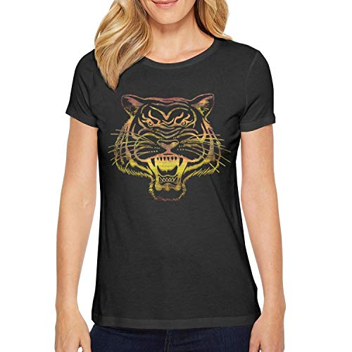 (Casual Women Tee Breathable Short Sleeve Round Neck Printing Cotton Vacation Flaming Tiger, Tiger Made of Fire Black T-Shirts)