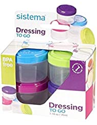 Sistema To Go Collection Salad Dressing Container, 1.18 oz./35 mL, Pink/Green/Blue/Purple, 4 Count