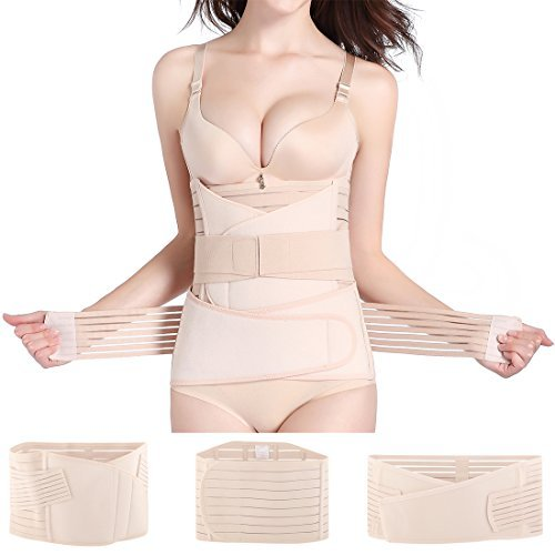 Hip Mall 3 in 1 Postpartum Girdle Support Recovery Belly Band Corset Wrap Body Shaper for After Birth Postnatal C-Section Waist Pelvis Shapewear (Best Way To Lose Baby Weight While Breastfeeding)