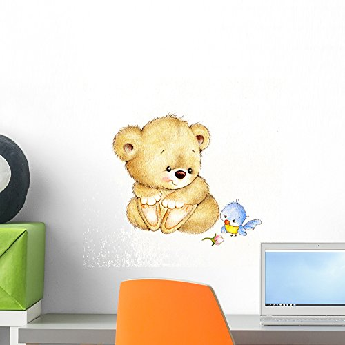 Wallmonkeys FOT-72639913-18 WM127827 Cute Teddy Bear and Bird Peel and Stick Wall Decals (18 in W x 17 in H), Small