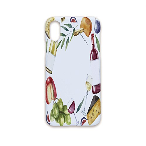 Iprint iPhone X Case Fashion Stylish,Wine,Round Frame with Hand Painted Food Objects Watercolor Wine Cheese Fruits Collection Decorative,Multicolor,Hard Plastic Phone Case ()