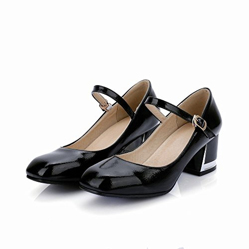 Charm Foot Fashion Womens Tacco Grosso Mary Jane Pumps Shoes Nero