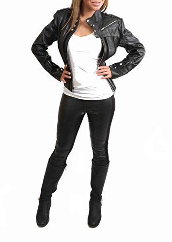 Nouvelle Veste en Cuir de Moto Féminin de Style Italien pour Femmes Jenny Noir