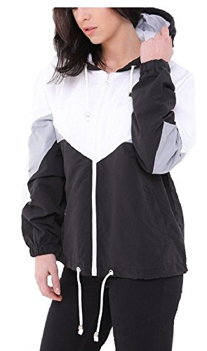 Women's Ladies Long Sleeve Block Contrast Hooded Zip up Windbreaker Jacket Coat Black