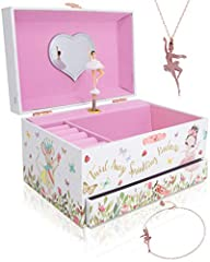 Christmas gift for girls, A beautiful little girls jewelry box with a cute rose gold ballerina necklace for little girls and a rose gold bracelet for girls, charming girly top toys for girls. A jewelry storage box for her tiny treasures, cute...
