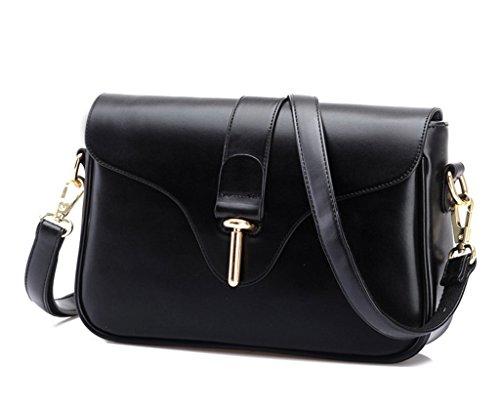 Eyedow eKingdom Outdoor Small Square Bag PU Leather Handbags Crossbody Shoulder Pretty Girls and Women (Black)