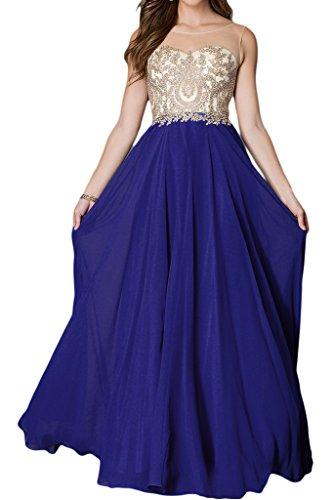 Bete colletto di punta donna in da linea A una acciaio con Ivydressing qualità Applicazione festa Royal sera inox dell'abito lunga Blu rotonda alta vestito w7vWa