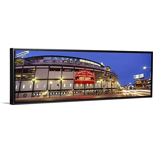 Floating Frame Premium Canvas with Black Frame Wall Art Print Entitled Illinois, Chicago, Cubs, Baseball 36