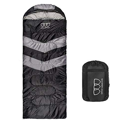 Gold Armour Sleeping Bag – Sleeping Bag for Indoor & Outdoor Use - Great for Kids, Boys, Girls, Teens & Adults. Ultralight and Compact Bags for Sleepover, Backpacking & Camping