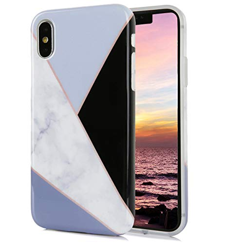 (iPhone Xs iPhone X Case Cute Glossy Black White Grey Marble Floral Pattern IMD Hybrid Hard TPU Back Cover Shockproof Protective Fun Phone Cases for Women Girls Men Boys[5.8