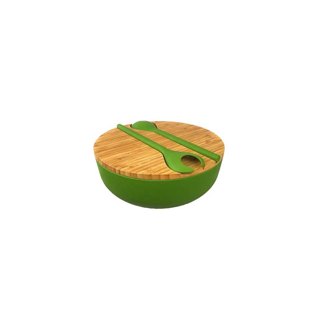 Bamboo Salad Serving Bowl Set with Lid and Utensils – Cute Wooden Bowl with Cutting Board Cover and Servers for Salads, Pasta, Fruit, Side Dishes – Eco-friendly, BPA-Free – Great For Parties, Picnics