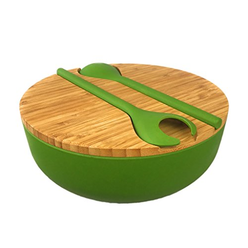 Bamboo Salad Serving Bowl Set with Lid and Utensils - Cute Wooden Bowl with Cutting Board Cover and Servers for Salads, Pasta, Fruit, Side Dishes - Eco-friendly, BPA-Free - Great For Parties, Picnics