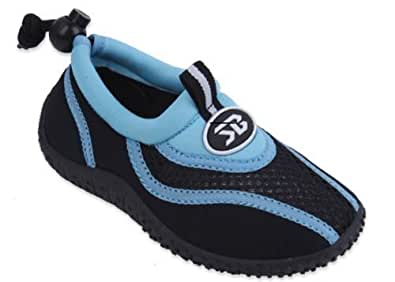 New Sunville Brand Toddler's Blue & Black Athletic Water Shoes Aqua Socks Size 5