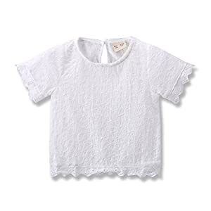 Baby Girls Tshirt Kids / Toddler Girls Bottoming Shirt Children Blouses Tees (104(36-48Month), Off-White)