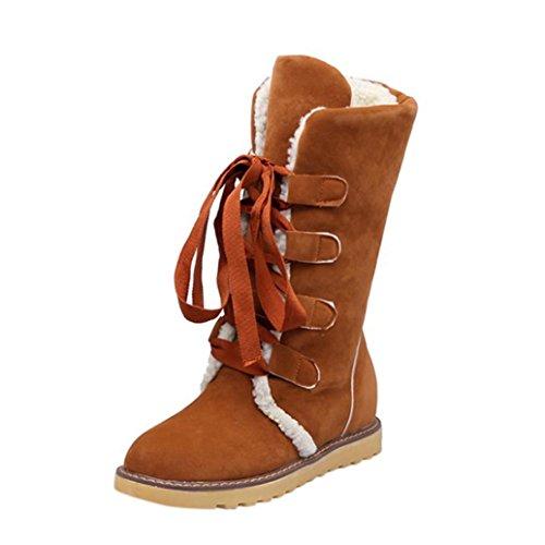 Esailq Femmes Mode Hiver Sangle Avant Frotter Neige Bandage Bottes Bottines Décontractée Chaussures Jaune