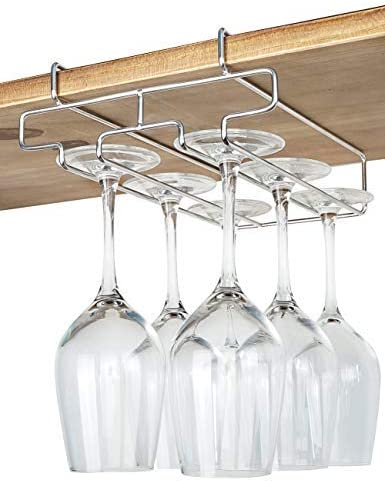 Details about  /2 Rows Wall Mount Stemware Hanging Wine Glass Rack Holder Home Bar Dining Shelf