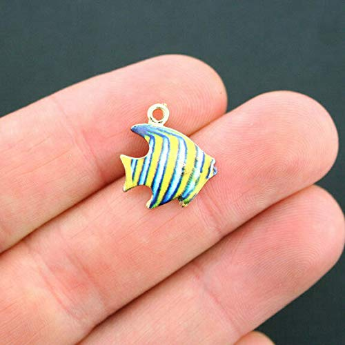5 Fish Charms Goldplated Yellow and Blue Enamel Fun and Colorful E132 - Jewelry Accessories Chain Bracelet Necklace Pendants