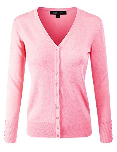 (ELF FASHION Women Top Long Sleeve Button V-Neck Knit Sweater Cardigan (size S~3XL) BABYPINK 1XL)