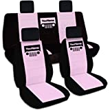 2007-2010 Jeep Wrangler JK Two-Tone Grill Seat Covers w Your Name/Text: Black & Cute Pink - Full Set: Front & Rear (21 Colors) 2008 2009 2-Door/4-Door Complete Back Solid/Split Bench