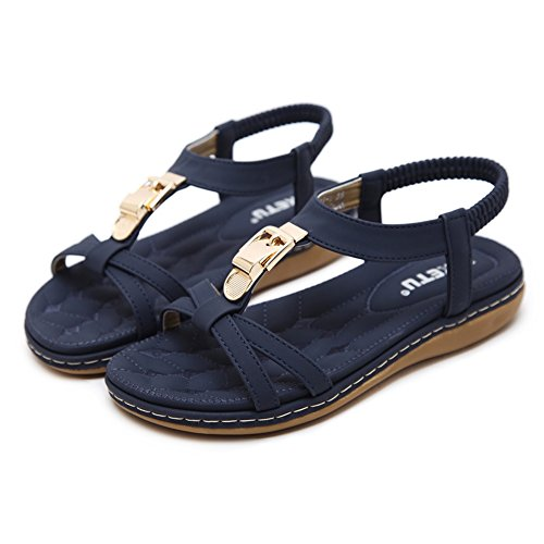 Bohemia Slip Rhinestone Blue Meeshine strap T Beaded Sandals Women's Summer Beach Flat On Shoes 6wXvAq