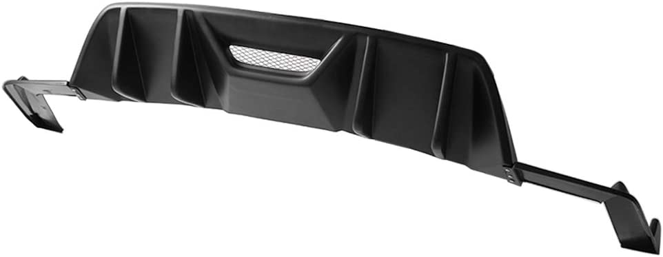 Free-Motor802 Compatible With 2015-2017 Ford Mustang Rear Bumper Diffuser,RTV2 Style Unpainted Black PP Spoiler