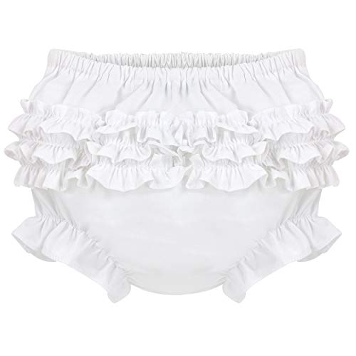 Carriage Boutique Baby Girl Panties Diaper Covers - White Ruffled Bloomers, 3M