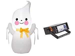 Halloween Inflatable Airblown Friendly Ghost 3.5' Tall & Bonus Mini Strobe Light Bundle