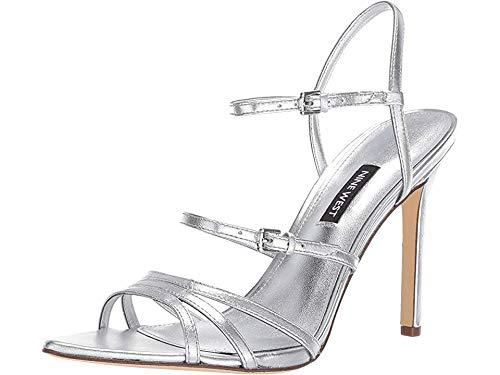 Nine West Women's Gilficco Strappy Sandals Silver 8.5 M US