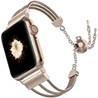 Wearlizer Compatible with Apple Watch Band 38mm 40mm Womens Jewelry iWatch Wristband Stainless Steel Three-line Dress Replacement Strap Beauty Metal Bracelet Cuff Series 4 3 2 1 Edition-Scrub Gold