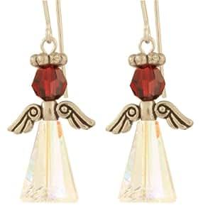 Swarovski Crystal Birthstone Angel Earrings - Sterling Silver - January