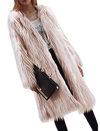 Suncolor8 Women's Open Front Fuzzy Faux Fur Winter Mid Long Coat Jacket Overcoat