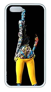 Yellow Spandex Custom Case Cover Compatible with Apple iPhone 5S/5 - TPU - White